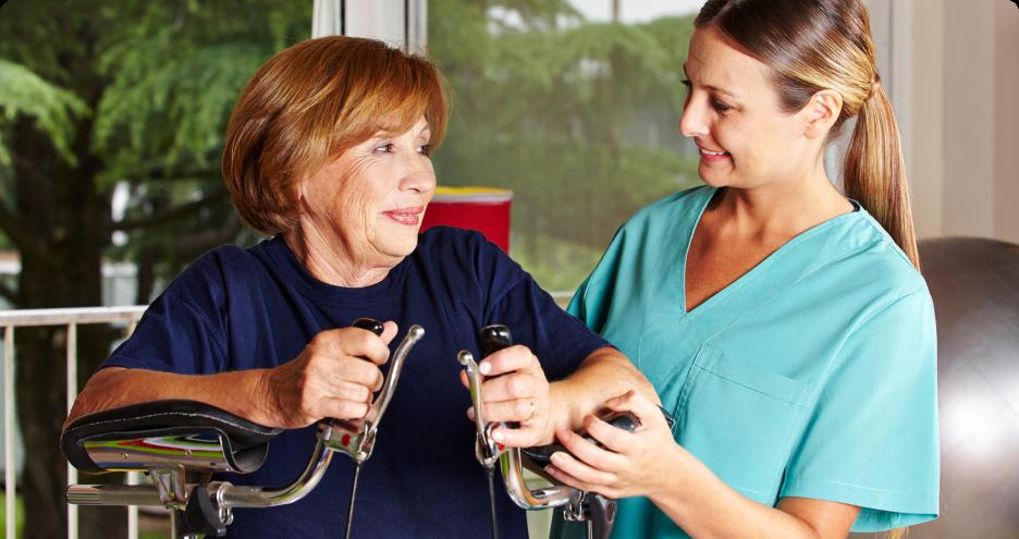 caregiver helping elderly